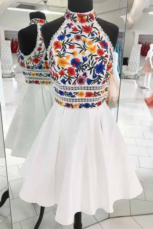 Unique White High Neck Short Prom Dresses, A Line Sleeveless Short .