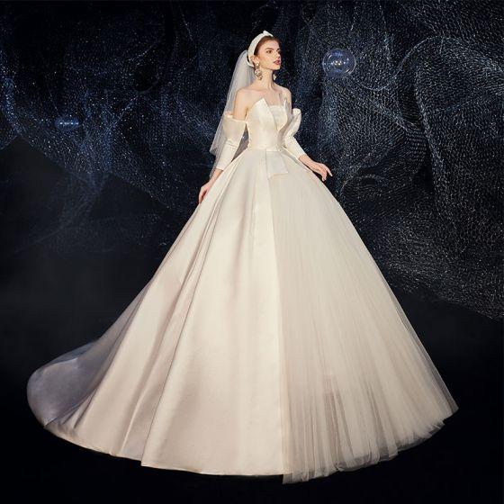 Amazing / Unique Champagne Satin Wedding Dresses 2020 A-Line .