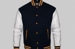 Custom Letterman Jackets for Men Black Wool and White Genuine Leath