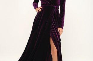 Lovely Plum Purple Dress - Long Sleeve Dress - Velvet Wrap Ma