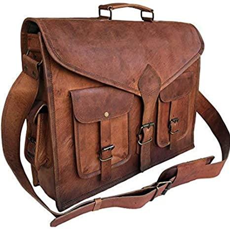 Amazon.com: KPL 18 Inch Rustic Vintage Leather Messenger Bag .