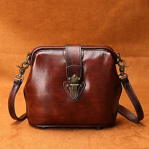 Women's Small Doctors Bag Purse Vintage Leather Crossbody Bag .