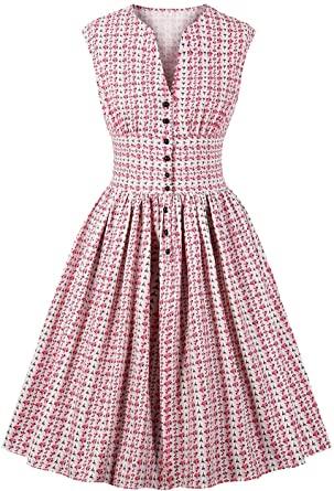 Amazon.com: Kaei&Shi Floral High Waist Vintage Dresses for Women .