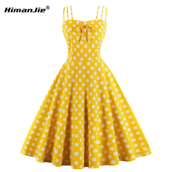 summer women hepburn dresses yellow retro cotton robe vintage .