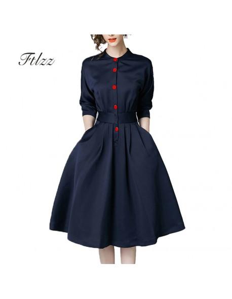 New Spring Autumn Vintage Dresses Women Slim 3/4 Sleeve A Line .
