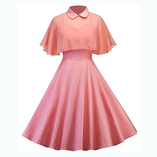 Pink Vintage Swing Dresses for Women Retro 1950s 60s Rockabilly .