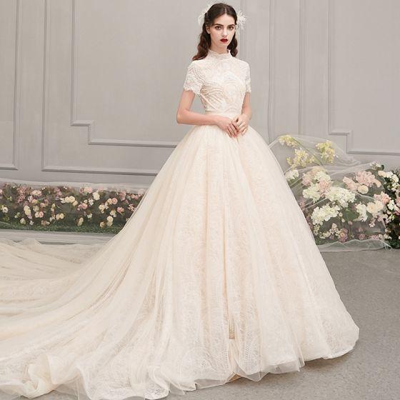 Vintage / Retro Champagne Wedding Dresses 2019 A-Line .