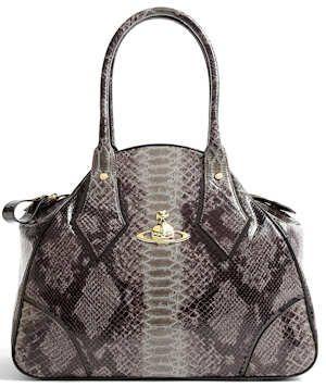 Vivienne Westwood Snakeskin Print Faux Leather Yasmin Tote Bag .
