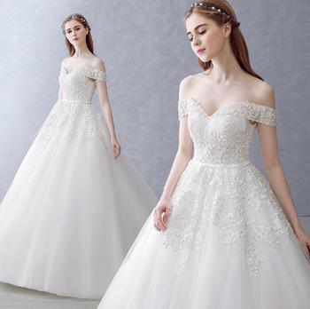 Zh0584f 2017 New Design White Bridal Wedding Gown Off Shoulder .