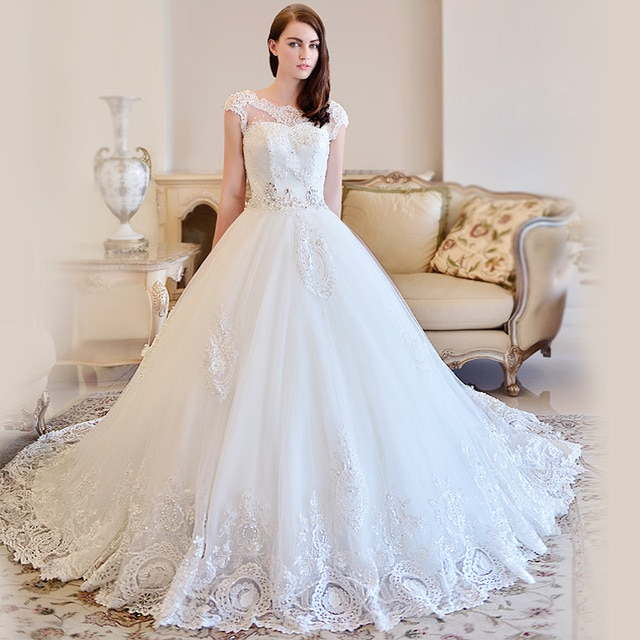 OMYW0083 cap sleeve lace wedding dresses crystal beads latest .