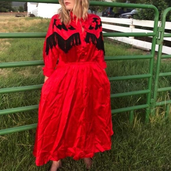 Vintage Dresses | Plus Size Western Satin Red Dress | Poshma