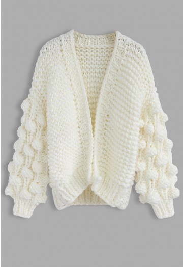 Cuteness on Sleeves Chunky Cardigan in White - Retro, Indie and .