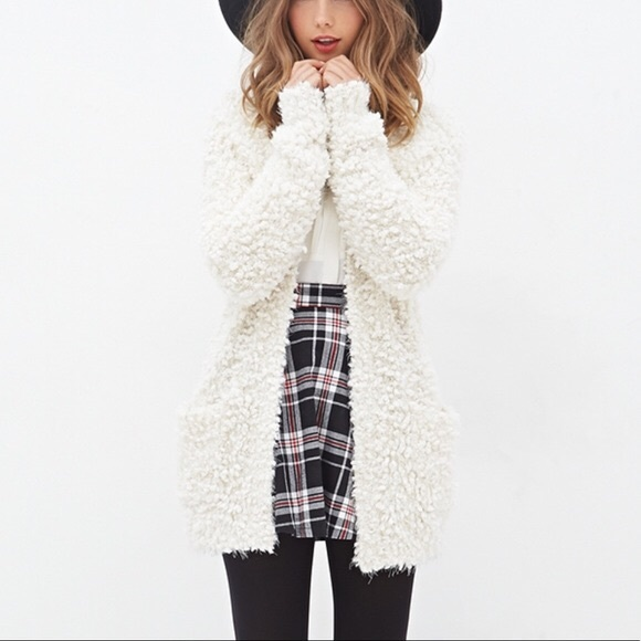 Forever 21 Sweaters | Fuzzy White Cardigan | Poshma