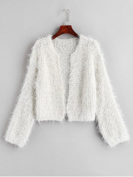 34% OFF] 2020 Metallic Thread Fuzzy Cropped Cardigan In WHITE | ZAF