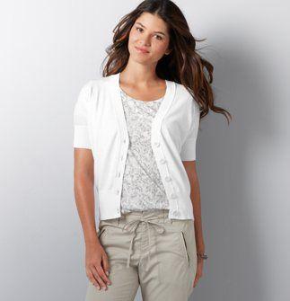 short sleeve white cardigan | Fashi