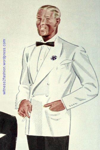 A Gentleman's White Dinner Jacket, 1934 | Fashion illustration .