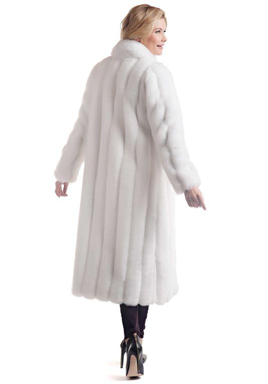 Women's White Mink Signature Full-Length Faux Fur Co