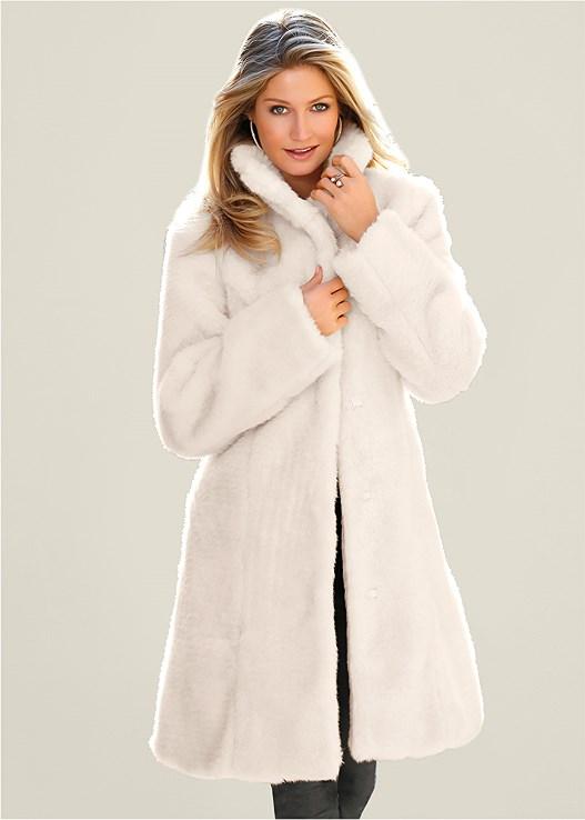 Faux Fur Coat in White | VEN