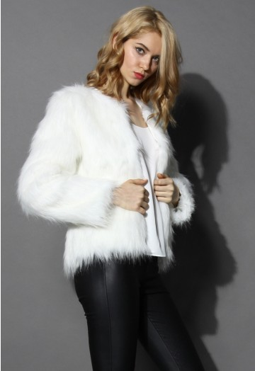 My Chic Faux Fur Coat in White - Retro, Indie and Unique Fashi