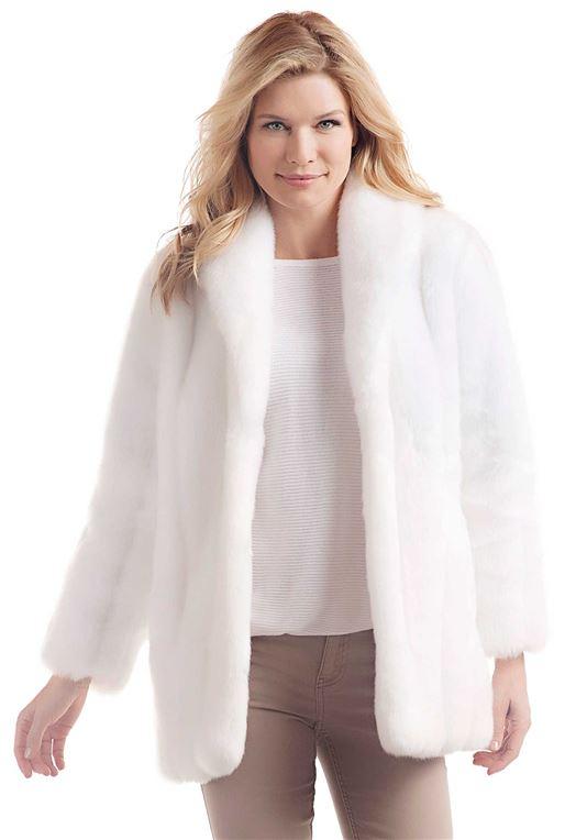 White Mink Classic Faux Fur Jacket | Womens Faux Fur Jacke