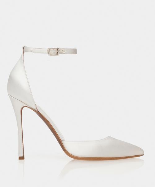 Alhambra White Satin Point Toe Pump w/Ankle Strap - Tabitha Simmo
