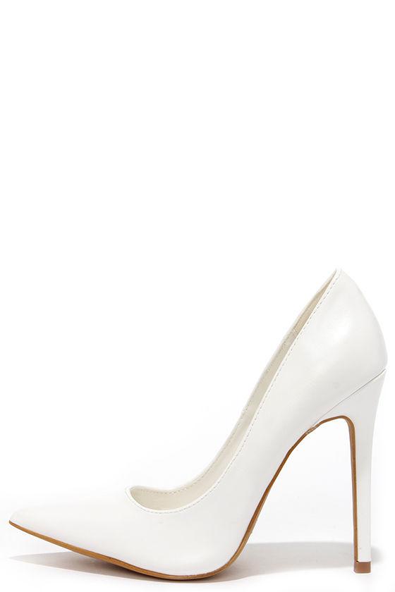 Pretty White Pumps - Pointed Pumps - White Heels - $34.