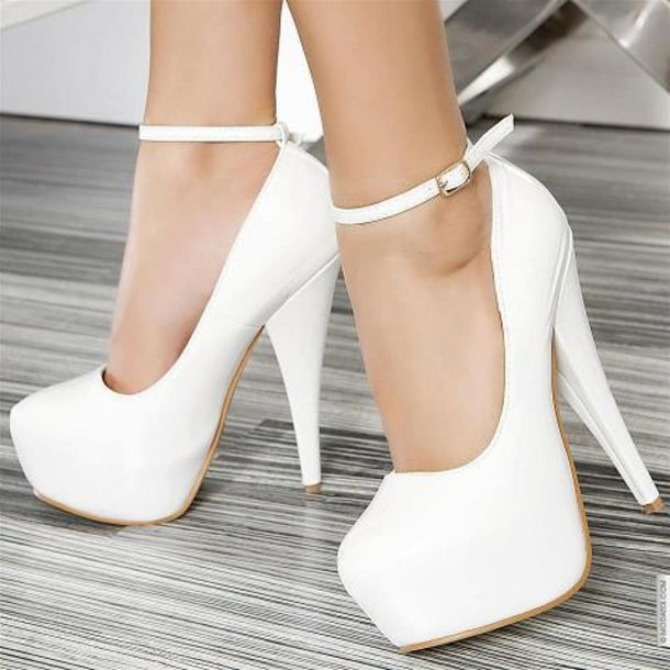 shoes, high heels, white, white high heels, strapped high heels .