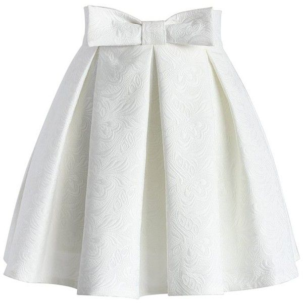 Chicwish Sweet Your Heart Jacquard Skirt in White ($42) ❤ liked .