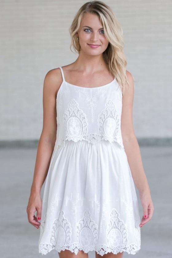 Cute White Dress, White Summer Dress, White Embroidered Dress .
