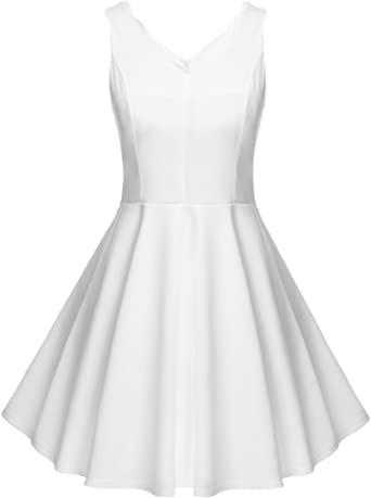 Dickin White Sundresses for Women, Short Sundress, v Neck Dress .