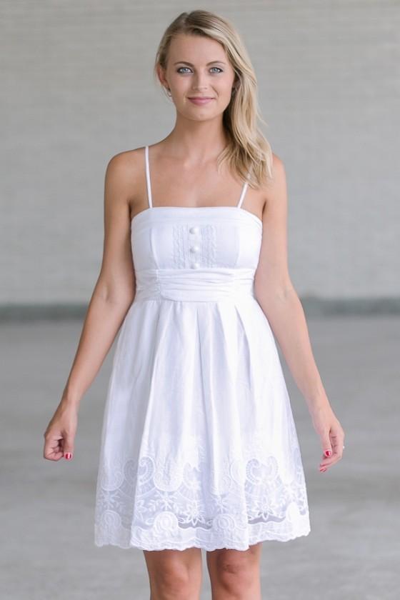 White A-Line Sundress, Cute White Dress, Summer Dress Lily Boutiq
