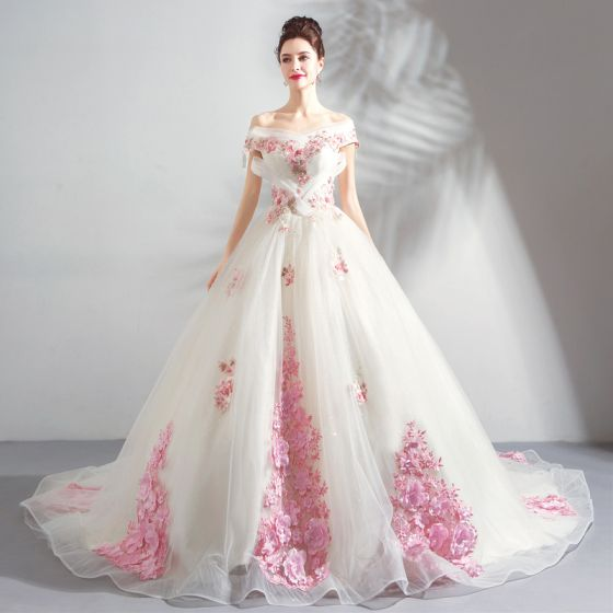 Chic / Beautiful White Wedding Dresses 2018 Ball Gown Appliques .