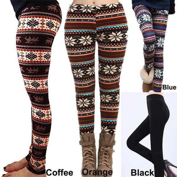 fashion Women Christmas Cozy Warm Leggings with Fleece Lined Fur .