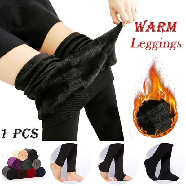 Fashion 9 Colors Brushed Stretch Fleece Lined Thick Tights Warm .