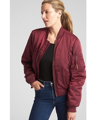 Amazing Deal on Gap Womens Classic Bomber Jacket Red Delicious Size