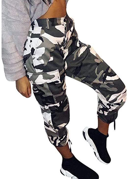 Womens Camouflage Pants Camo Casual Cargo Joggers Trousers Hip Hop .
