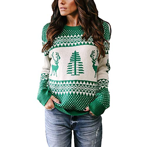 Ulanda-EU Womens Christmas Jumpers Casual Winter Warm Knitted Sweate