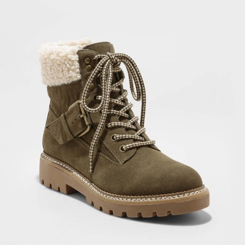 Women's Susan Microsuede Sherpa Lace-Up Fashion Boots - Universal .