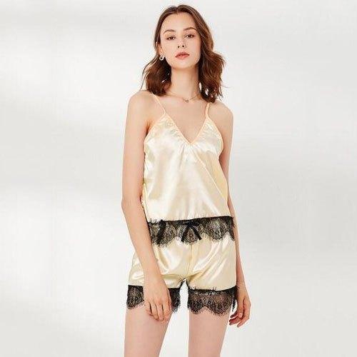Night Dress Cream And Black Womens Nightwear, Rs 600 /set | ID .