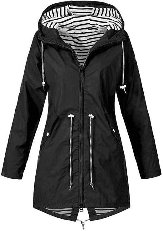 Amazon.com: Eddizu Womens Rain Coat Hooded Jackets Raincoat .