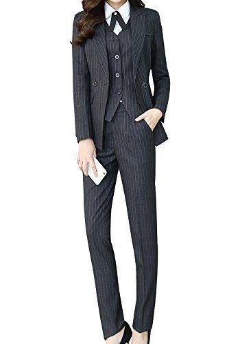 LISUEYNE Women's Three Piece Office Lady Stripe Blazer Business .