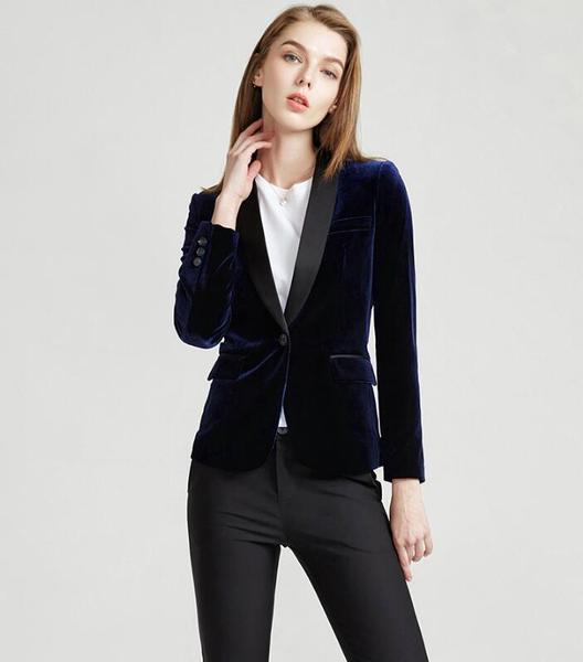 Velvet Black fashion korean style women suit office suit womens suit