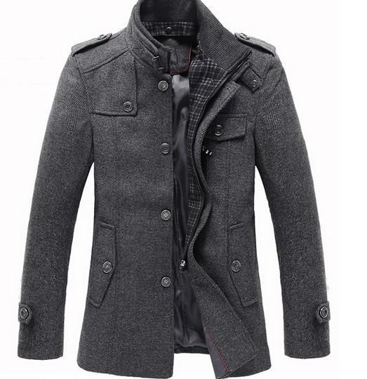 Splice Wool Jacket Men's Slim Fit Windproof Outerwear .