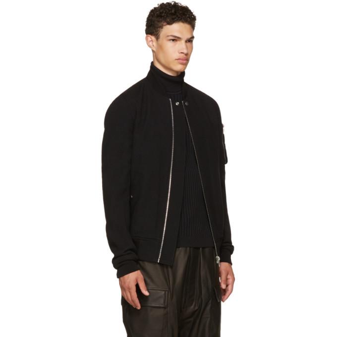 Rick Owens Black Wool Flight Bomber Jacket men Jackets & Coats .