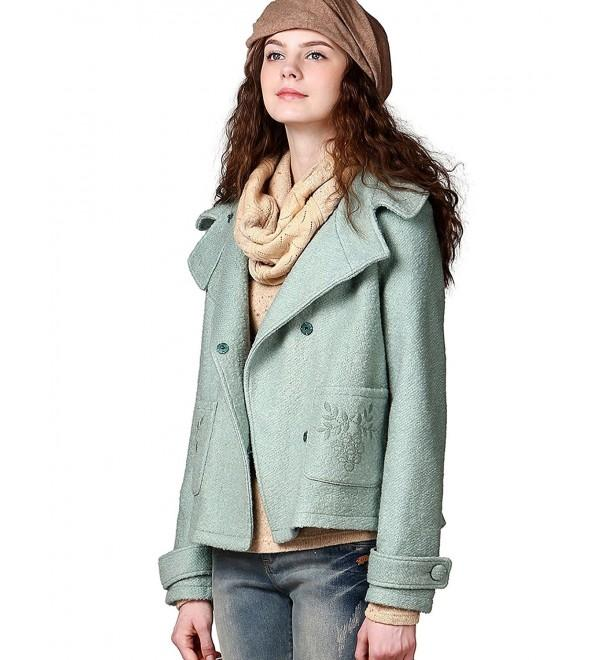 Women's Winter Lapel Embroidered Short Wool Jacket - CA11RW6OT