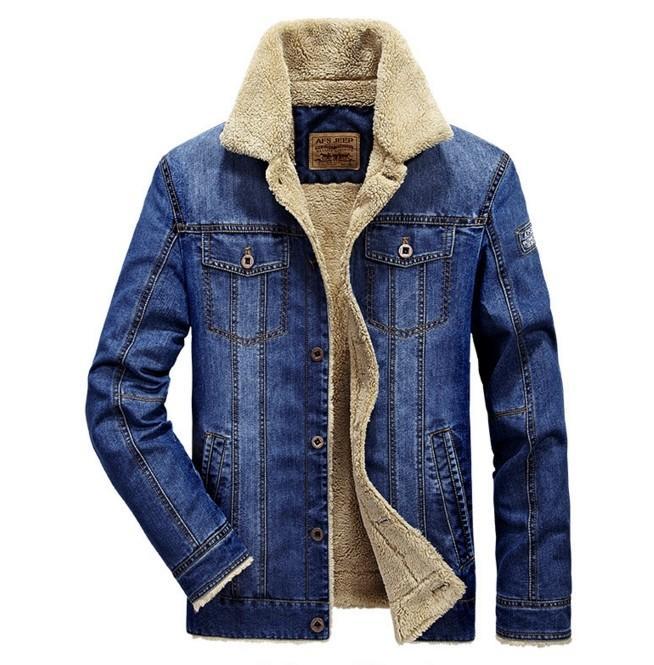 Mens Fashion Plus Wool Denim Jacket Field Jeep Leisure And .