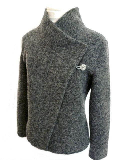 Cozy Women boiled wool Jacket grey melange size XS-L   Boiled wool .