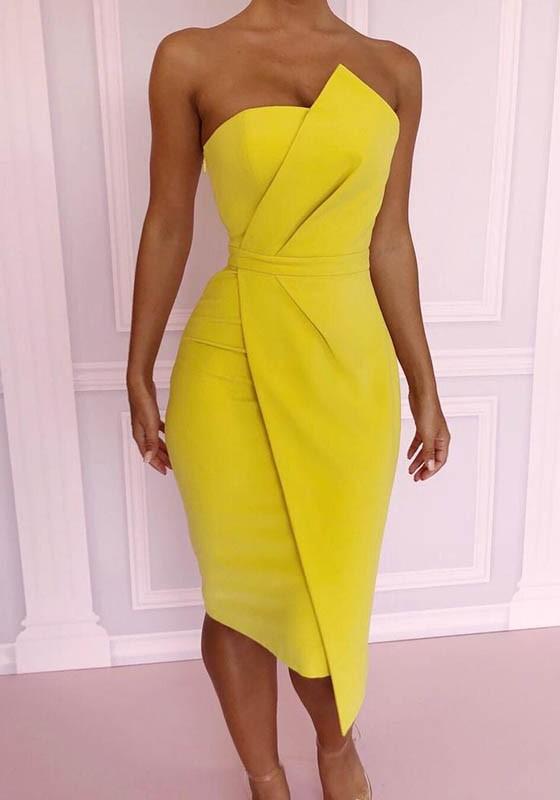Yellow Zipper Irregular Bandeau Fashion Midi Dress - Midi Dresses .