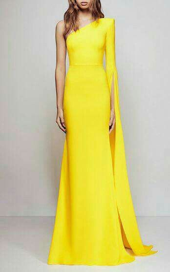 One shoulder yellow dress | Evening dresses, Gowns, Evening gow