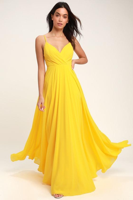 Lovely Yellow Maxi Dress - Yellow Surplice Bridesmaid Dre